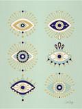 Mint Evil Eyes Reproduction d'art par Cat Coquillette