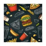 Seamless Pattern Fast Food Cup Cola  Coffee  Chips  Hamburger  Pizza  Hotdog  Fry Potato Paper Box