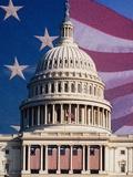 Flag Behind US Capitol