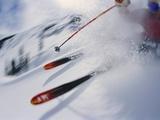 Skier Performing Sharp Turn