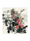 Birds and Red Blossoms by Rock