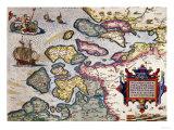 Map of Zeeland  by Abraham Ortelius  Mapmaker of Antwerp  Honoring Research of Jacob Van Deventer