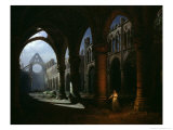 Interior of an Abbey in Ruins  1848