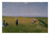 Children and Young Girls Picking Flowers in a Meadow North of Skagen