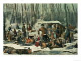 American Forest Scene  Maple Sugaring  1856