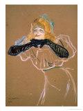 """Yvette Guilbert (1867-1944) Singing """"Linger  Longer  Loo """" 1894"""