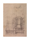 W26R Design for the Medici Chapel in the Church of San Lorenzo  Florence (Charcoal)