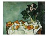 Nature morte avec pommes et primevères Giclée par Paul Cézanne