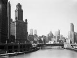 Horizon de Chicago et fleuve Papier Photo par Bettmann