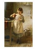 La petite fille au chat Giclée par Emily Farmer