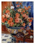 Géraniums et Chats Giclée par Pierre-Auguste Renoir