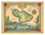 Vintage Style Map of the Island of Maui  Hawaii