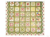 A Pieced and Appliqued Cotton Quilted Coverlet  Baltimore  Dated 1845