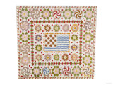 A Pieced and Appliqued Cotton Quilted Coverlet  American  circa 1865