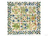 A Pieced and Appliqued Cotton Album Crib Quilt  American  circa 19th Century