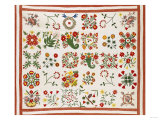 Pieced  Appliqued and Trapunto Cotton Quilted Coverlet Made for Mary Wilkins  Baltimore  Dated 1846