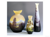 A Selection of Galle Double-Overlay and Acid-Etched Vases  Galle