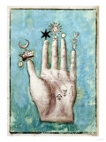 A Hand with Alchemical Symbols Against the Fingers  First Half of the 17th Century