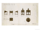 Designs for Writing Desks Shown in Front and Side Elevation  1909  for the Ingram Street Tea Rooms