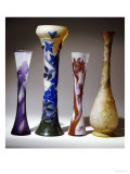 A Selection of Galle Bouble Overlay and Fire-Polished Vases