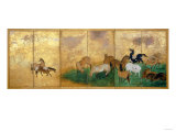 A Six Panel Screen Painted in Sumi  Colour and Gofun on Gold-Sprinkled Paper