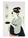 A Half Length Portrait of Naniwaya Okita  the Famous Teahouse Waitress Serving a Cup of Tea