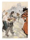 A Street Scene with Flower Vendors Giclée par Théophile Alexandre Steinlen