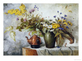 Cornflowers  Daisies and Other Flowers in a Vase by a Kettle on a Ledge
