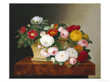 Still Life of Roses in a Basket on a Ledge