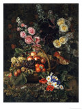 A Still Life of Flowers and a Basket of Fruit
