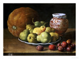 Pears on a Plate  a Melon  Plums  and a Decorated Manises Jar with Plums on a Wooden Ledge