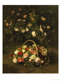 Roses in a Basket Beside a Rose Bush  1846
