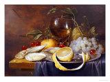 A Roemer, a Peeled Half Lemon on a Pewter Plate, Oysters, Cherries and an Orange on a Draped Table Giclée par Joris Van Son