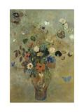 Bouquet de fleurs avec papillons Giclée par Odilon Redon