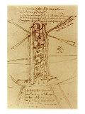 Drawing of a Flying Machine Giclée par Leonardo Da Vinci