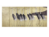 Cranes  Japanese Edo Screen Painting