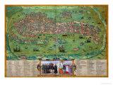 "Map of Venice  from ""Civitates Orbis Terrarum"" by Georg Braun and Frans Hogenberg  circa 1572"