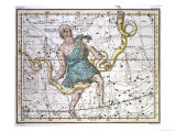 """Ophiuchus or Serpentarius  from """"A Celestial Atlas """" Published in 1822"""