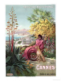 Travel Poster Advertising the Paris-Lyon-Mediterranee Train Line and Holidays in Cannes  1904