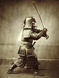 Samurai with Raised Sword  circa 1860