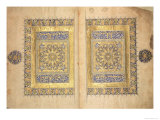 Illuminated Pages from a Koran Manuscript  Il-Khanid Mameluke School