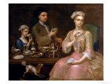 A Family of Three at Tea  circa 1727