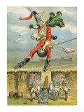 Baron Munchausen Flying over the Enemy Lines on a Cannon Ball