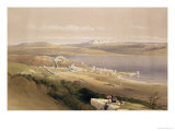 """City of Tiberias on the Sea of Galilee  April 22nd 1839  Plate 38 from Volume I of """"The Holy Land"""""""