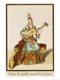 Lady of Quality Playing the Guitar  Fashion Plate  circa 1695