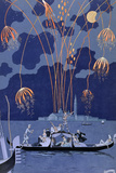 Fireworks in Venice, Illustration for Fetes Galantes by Paul Verlaine 1924 Reproduction d'art par Georges Barbier