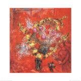 Fleurs sur fond rouge, 1970 Reproduction d'art par Marc Chagall