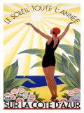 Cote d'Azur, Le Soleil Toute l'Annee Giclée par Roger Broders