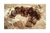 Prehistoric Hunters Stampede Bison over a Cliff