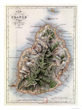 "Map of Mauritius  Illustration from ""Paul et Virginie"" by Henri Bernardin de Saint-Pierre  1836"